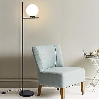 Depuley Lampadaire Salon Boule, Lampe sur Pied en Métal Noir, Sphère en Verre Mat, Design Moderne et Scandinave pour Chamb...