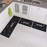 Carvapet 3 Pièces Tapis Cuisine Antidérapant Lavable en Machine Tapis de Bain Paillasson Tapis de Sol Cuisine (Cozinha Marine)