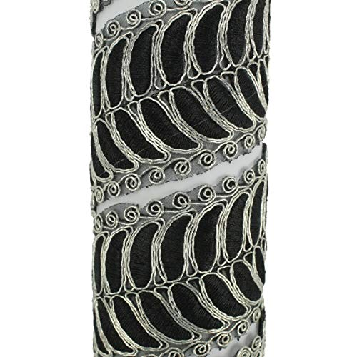 TAPACOSTURAS METALIZADO BICOLOR 5cm (PLATA-NEGRO, 1 METRO)