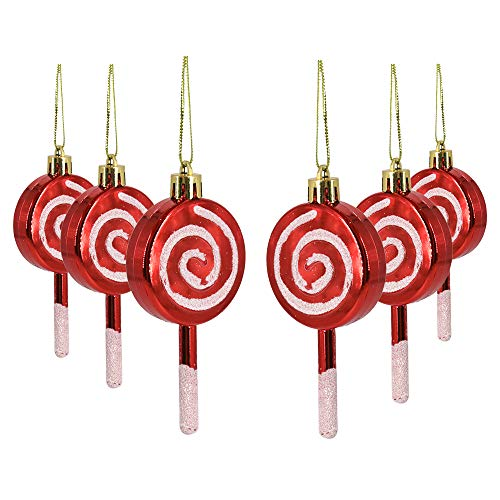 Homo Trends 6Pcs Christmas Lollipop Ornament, Red and White Candy Cane Swirl Lollipop Ornament Mould Christmas Tree Decorations for Home Party