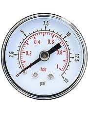 Manómetro mecánico, manómetro axial BSPT de 1/8 pulg. Para aire, aceite y agua(0-15psi,0-1bar)