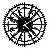 Reloj de pared de vinilo de culturismo, vinilo récord de arte de pared único decoración de habitación regalos hechos a mano