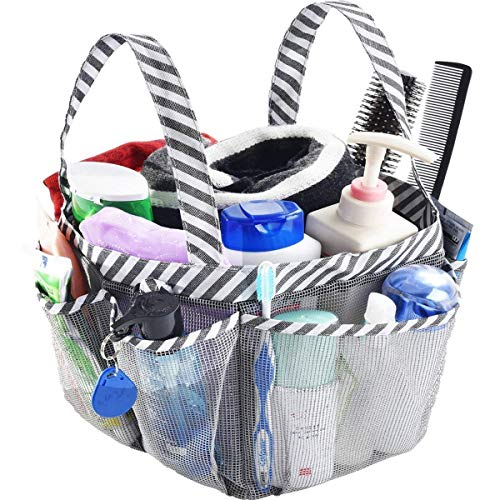iHomeYC Portable Mesh Shower Caddy, Camping Bathroom Shower Caddy Tote, College Dorm Room Essentials Organizer with Key Hook and 8 Basket Pockets, Grey