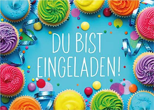 JuNa-Experten 12 Einladungskarten zum Kindergeburtstag Mädchen Jungen Muffins Cupcake Einladungen zum Geburtstag