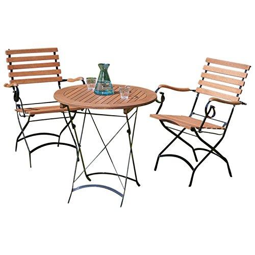 gartenmoebel-einkauf Bistroset Schlossgarten 3-teilig, 2X Armlehnensessel + Tisch rund 70cm + Eukalyptus, FSC®-Zertifiziert