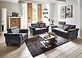 Cavadore 3-Sitzer Sofa Ammerland / Couch mit Federkern im Landhausstil / Inkl. verstellbaren Kopfstützen / 186 x 84 x 93 / Strukturstoff grau - 2