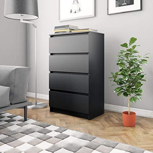 vidaXL Credenza Minimalista Elegante Moderna con 4 Cassetti Pratica Resistente Madia Armadietto Cassettiera Nera 60x35x98,5 cm in Truciolato