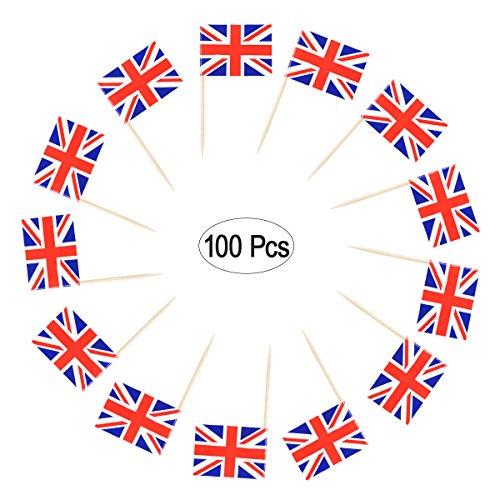 LUOEM 100 STÜCKE Britische Flagge Zahnstocher Union Jack Cupcake Toppers Picks Kuchen Toppers Cocktail Stick für Party Cake Toppers Dekorationen