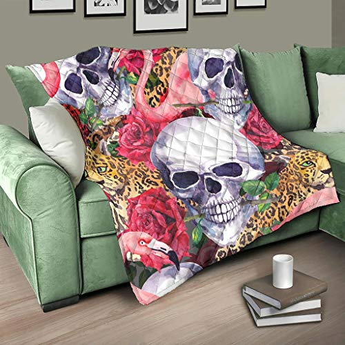HMML Quilted Blanket Throw Skull Flamingo Leopard Lightweight Quilt Throw for Chair Living Room White 68x80 inch