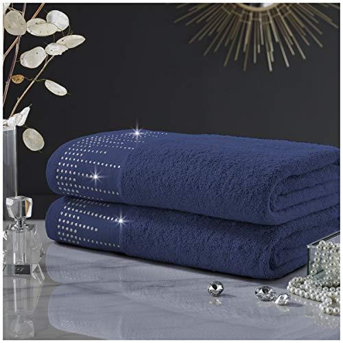 Gaveno Cavailia Juego Abington algodón, Suave y Acogedor, Color, Toalla de Mano Azul Marino, 50 x 80