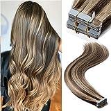 20 PCS 60G Bande Adhesive Extension 100% Cheveux Humains Naturels 16 Pouces[#4P27...