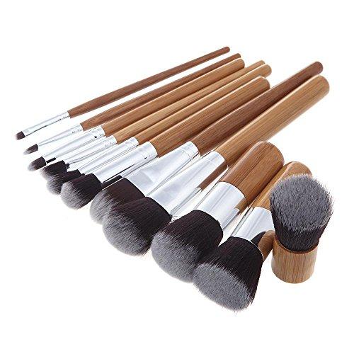 RY@ 11 Pcs Maquillage Brosse Kit Bois Professional Set Cosmétique Fondation Brosse Poudre Brosse Ombre à paupières Brosses