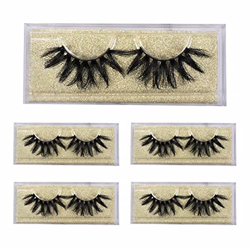 5 Pairs, 3D Mink Lashes, 22mm Thick Criss Cross Layered Type Long Real Siberian Mink Eyelashes, Fluffy Soft Luxury Reusable Makeup Bushy Cruelty Free Strips Fake Eyelash, Handmade By Havoo