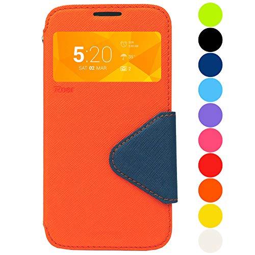 Roar Premium Hülle für Sony Xperia M2 Handyhülle, Flip Hülle Schutzhülle Tasche Hülle für Sony Xperia M2, Klapphülle mit Fenster in Orange