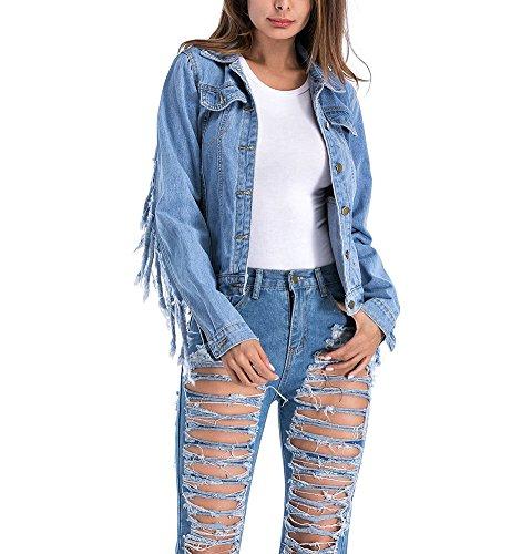 Mujere Boyfriend Chaquetas de Mezclilla Manga Larga Cazadoras Vaquera Abrigo Denim Jacket con Flecos Azul 5XL