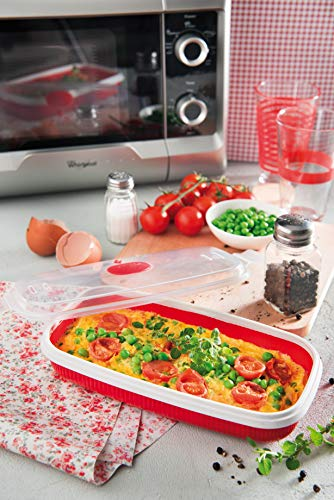 Snips Microwave Cookware Egg Poacher and Omelet Maker, Red