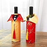 Amosfun 2020 Neujahr Weinflasche Abdeckung Chinesische Silvester Weinbeutel Flaschen Beutel Flaschen Kleidung für Abendessen Bankett Tischdeko - 6