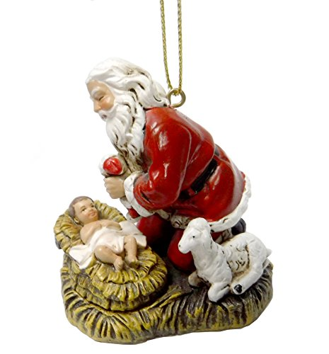 Joseph's Studio Festive Red Kneeling Santa 2.5 inch Resin Stone Decorative Hanging Ornament