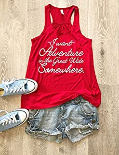 I Want Adventure In The Great Wide Somewhere. Screen Printed With Eco Ink. Disney Inspired Tank. Women's Eco Flowy Tanks. Women Clothing. Sheering Back Seam.