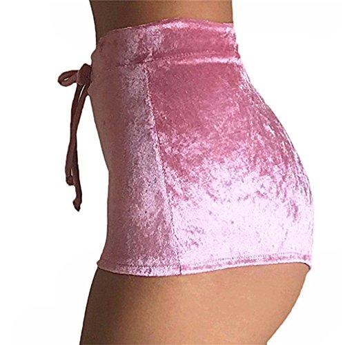 Amorar Damen Samt Hohe Taille Hose Beiläufig Mode Velvet Shorts Dehnbar Drawstring reizvolle Heiß Pants für Party Nacht Club,EINWEG Verpackung