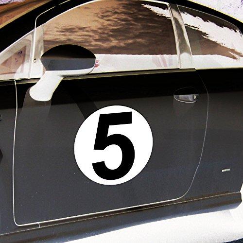 4 Aufkleber 20cm Sticker Startnummer 5 Racing Auto Start Nummer Zahl Ziffer Tor Halle Garage Werkstatt Müllkontainer