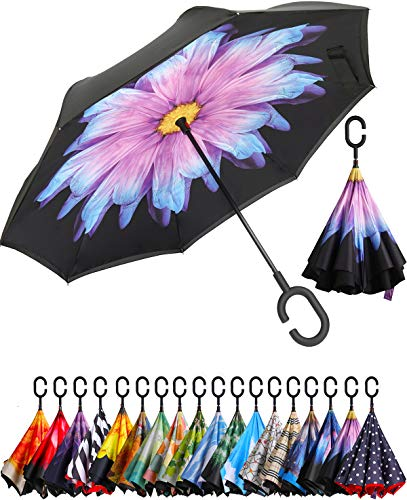 BAGAIL Double Layer Inverted Umbrella Reverse Folding Umbrellas Windproof UV Protection Big Straight Umbrella for Car Rain Outdoor with C-Shaped Handle (Purple Daisy)