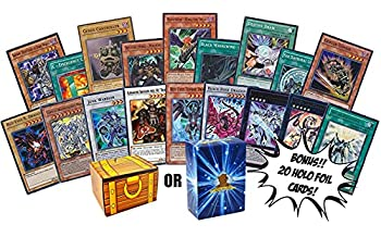 100 Yugioh Cards - Bonus 20 Yugioh Foils! Includes Golden Groundhog Treasure Chest Storage Box!