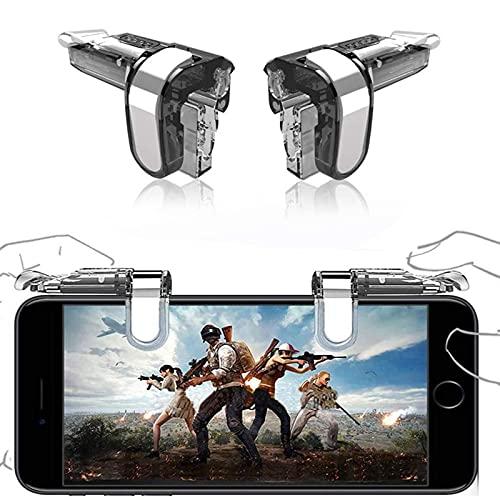 SUNSEATON Controlador de Juegos Móvil, Gaming Trigger Smartphone Shooter Controlador Sensible Joysticks Aim & Fire Trigger Keys, Joysticks para Juegos Móviles para Android/iOS (Transparente)