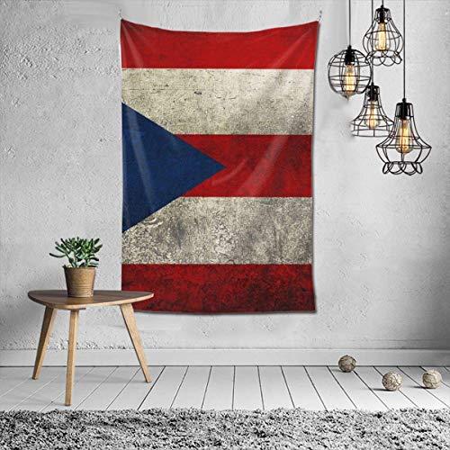 N\A Hippie Hippy Tapestries Vintage Bandera de Puerto Rico Tapices para Colgar en la Pared Tapices de Cama, Mantel Tapiz Multiusos, psicodélico Home Art Picnic Mat Beach Throw
