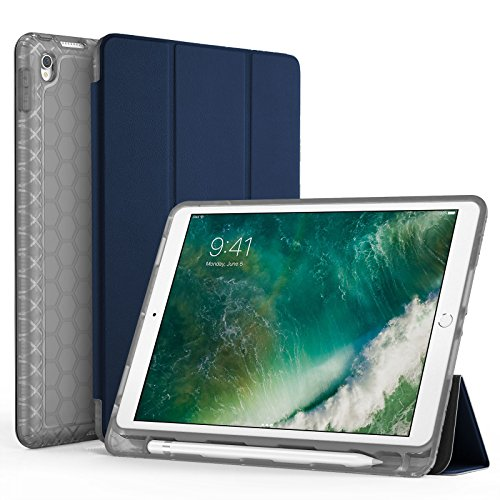 SWEES Compatible with iPad Air (3rd Gen) 10.5' 2019 / iPad Pro 10.5 2017 Case, Slim Full Body Protective Smart Cover Leather Case Shockproof with Stand Built-in Pencil Holder, Black
