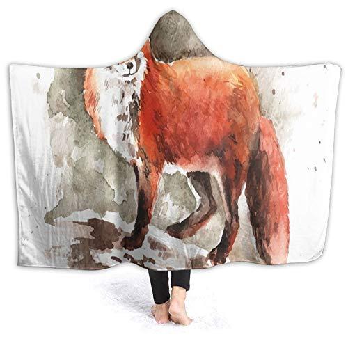 Manta con capucha de 60 x 50 pulgadas, Watercolor Red Fox con cola Bushy Tail Brushstrokes Mud Mammal, para niños y adultos