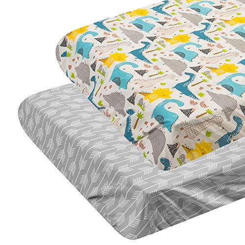 ALVABABABY - Colchón para cuna (100% algodón orgánico, suave y ligero, cambiador, para niños y niñas), Reino de Flechas y Dinosaurios, Playard Sheet