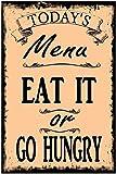 Letreros de metal retro con texto en inglés 'Rules Of The Kitchen', estilo vintage, para decoración de pared (20 x 30 cm)