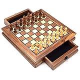 FACAIA Juego de ajedrez Juego de ajedrez magnético de Viaje, Ajedrez con Tablero de cajón de Almacenamiento portátil, Juguetes educativos para Acción de Gracias (Tamaño: 32 cm)