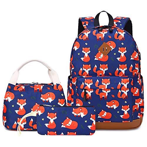 Teen Girls Backpack Set Kids School Bookbag with Lunch Tote Bag Pencil Case Cute Fox School Backpacks