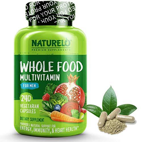 NATURELO Whole Food Multivitamin for Men - Natural Vitamins, Minerals, Antioxidants, Organic Extracts - Vegetarian - Best for Energy, Brain, Heart, Eye Health - 240 Vegan Capsules