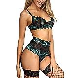 WUSIKY Mode Damen Sexy Nachtwäsche Spitze Erotische Halter Hohl Dessous Strumpfhosen Sexy UnterwäSche Erotik Hipster Set Hot Ouvert Bodysuit (Grün,M