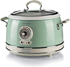 Ariete 2904, Rice Cooker, rijstkoker Slow Cooker, stoompan, vintage lijn, 3,5 l, keramische antiaanbaklaag, 650 W, groen