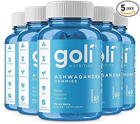 ASHWA Vitamin Gummy by Goli Nutrition - Ashwagandha and Vitamin D Gummies - Relax. Restore. Unwind. (Mixed Berry, KSM-66, Vegan, Plant Based, Non-GMO, Gluten-Free & Gelatin Free - 5 Pack 300 Count)