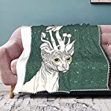 Manta suave de gato exótico blanco sobre fondo fluorescente verde crece tentáculos de setas cálidas y acogedoras mantas para cama, sofá, sofá de microfibra de poliéster ligera de 127 x 101 cm