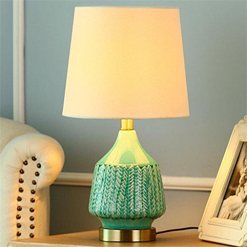 Nordic vert céramique lampe chambre lampe de chevet tissu ombre