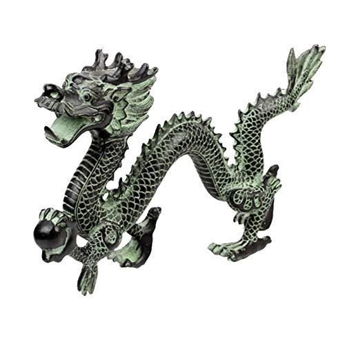 NYKK Estatuas de Feng Shui Fengshui Chino Retro Bronce Dragón Estatua Estatua Figurilla Decoración para el hogar Regalo Artesanía Coleccionable Estatua de Riqueza (Size : Small)