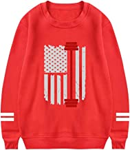 UeMuah Mens Gym Fitness Weightlifting American Flag Long Sleeve Crewneck Sweatshirt Cotton Pullover