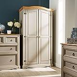 Home Source Grey Corona Pine Wardrobe 2 Door Hanging Rail Shelf Solid Wood Waxed Bedroom