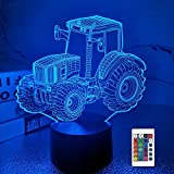 Lampe de tracteur 3D Night Light Lampe Illusion 3D pour enfants, 16 couleurs changeantes avec télécommande, décoration de la chambre comme cadeaux d'anniversaire de vacances de Noël pour les enfants