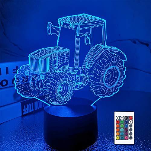 Traktor 3D Illusionslampe Geburtstagsgeschenk Nachtlicht Kinder Nachttischlampe, FULLOSUN 16 Farben Auto Changing Touch Switch Schreibtisch Dekoration Lampen for Junge Männer