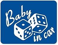 imoninn BABY in car ステッカー 【マグネットタイプ】 No.30 ダイス (青色)