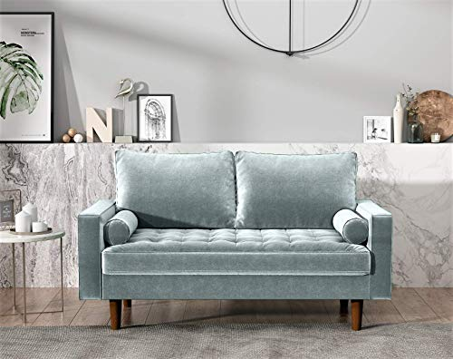 US Pride Furniture Modern Living Room Tufted Velvet Love Seats, Light Grayish Cyan