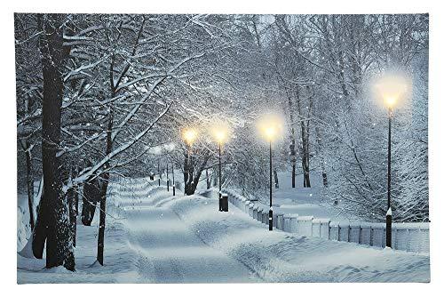 zeitzone LED Bild Schneelandschaft Wald Weihnachten Winterlandschaft Beleuchtet 38x58cm