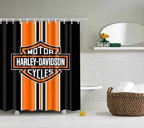 KXBARTORI Shower Curtain Nice for Decorative with 12pcs Hooks Motor Cycles Harley-Davidson Orange and Black Background Waterproof Polyester Fabric Bath Curtain with Size 71''x71''